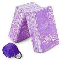 Lixada 2 Pack Camouflage Yoga Blocks with Yoga Strap EVA Foam Exercise Yoga Blocks Bricks Set for Stretch Flexibility Alignment