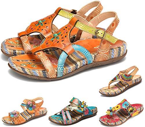 Camfosy Leder Mules Damen Vintage Sandalen Sommer Flip Flops Flache Stöckelschuhe mit Einlegesohle Seile Geflochtene Komfortable Schuhe Urlaub Freizeit Stroh Sandale 2019 Mule Sandale