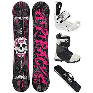 Airtracks Damen Snowboard Set – SAVAGE Lady Snowboard Rocker + Snowboardbindung Master W FASTEC + Snowboardboots + Sb Bag / 138 144 148 cm