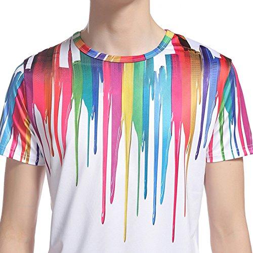 Whatlees Herren Hip Hop Slim Fit T-Shirt mit Bunt 3D Farbspritzer Druck Muster B056-27