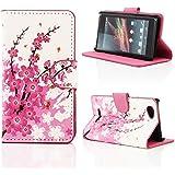 Kit Me Out FR Étui à rabat avec imprimé cuir synthétique pour Sony Xperia M - blanc / rose arbre en fleurs