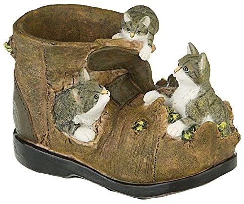 Gartendeko Gartenfigur Pflanztopf Blumentopf Motiv Kätzchen Schuh Übertopf