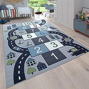 Paco Home Kinder-Teppich, Spiel-Teppich Für Kinderzimmer, Hüpfkästchen und Straßen, Grau, Grösse:80×150 cm
