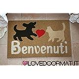 FUßMATTE BENVENUTI CM. 75x45 SCHMUTZ BRUSH LOVEDOORMAT ® HANDMADE IN ITALY