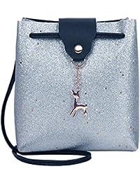 bolsos bandolera de mujer, bolsos desigual, Bolso Crossbody de mujer con lentejuelas de cuero de PU Bolsas de hombro de ciervo pequeño Bolsa de mensajero Crossbody Messenger Bag (plata)