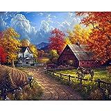 5D ländlichen Gedruckt Stickerei Gemälde Strass Eingefügt DIY Vollbohrer Diamant Malerei Kreuzstich Erwachsene DIY Ölgemälde Wanddekor für Zuhause 30 x 40 cm