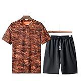 Herren Sportanzug,Kurzarm + Shorts,SUNFANY Sommer Freizeit Mode Camouflage Druck Kurzarm Shorts Sportsets Gr M-5XL(Orange,XXXXXXXXL)