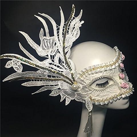 HUAXI Mano-su misura, lusso ricamato pizzo maschera, maschera di palco spettacoli, mascherina del partito, festa maschera , white