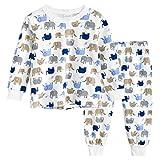 BINIDUCKLING Jungen Mädchen Nachthemd Baumwolle Unterwäsche Langarm Pjs Elefant 130