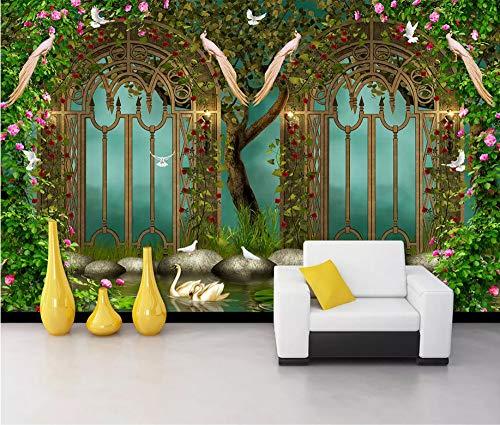 Stein Schmiedeeisen (Keshj Benutzerdefinierte 3D Wallpaper Fantasy Garten Blume Schmiedeeisen Fee Stein Tv Hintergrund Wandbild Tapete-300cmx210cm)