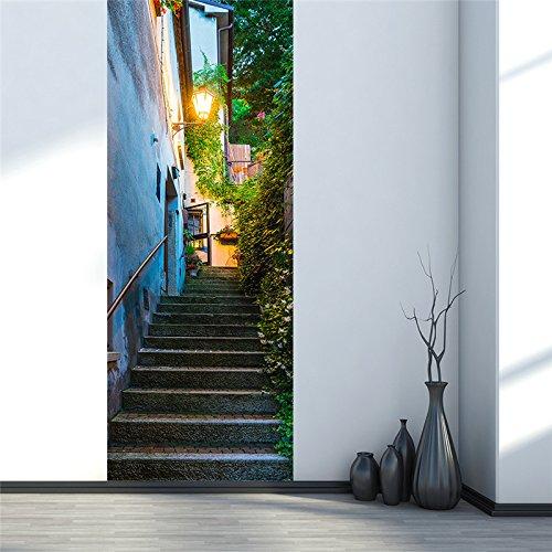 NBLYZT Türaufkleber Imitation 3D San Marino Alte Straße Europäische Kreative Selbstklebende Wohnzimmer Schlafzimmer Renovierung Tür Aufkleber Wandaufkleber 77x200cm (Tuch 1970)