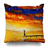 Klotr Housses De Coussin Fantasy Painting Dark Girl Lantern on Bridge in Yellow Sea Wather Red Blue Clouds Fragment Design Pillowcase Square Size 18 x 18 inches Zippered Home Decor Cushion Case