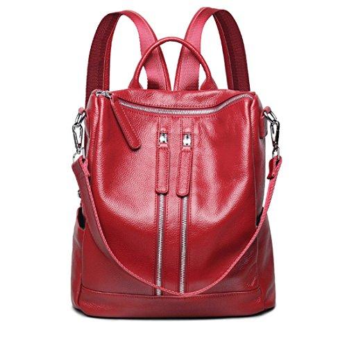 Berühmte Marke Stil Frauen Echtes Leder Rucksack Mode Einfache Reisetaschen Weibliche Rucksack Schultaschen Red