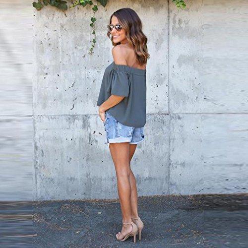 KanLin Damen Aus Schulter Sommer Kurzarm Tops Solid Bluse T-Shirt Grau