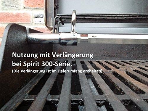 BBQ-Toro Edelstahl Grillspieß Set passend für Weber Spirit und Spirit II Gasgrill | mit 2X Fleischnadeln und Motor | Rotisserie Drehspieß