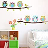 Cartoon Cute Six Owl on the Tree DIY Wall Wallpaper Stickers Art Decor Mural Kid's Child Room Decal waterproof by Himanjie