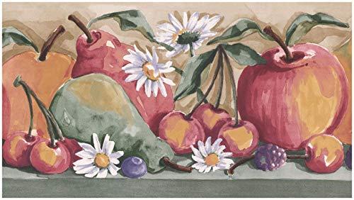 Norwall Vorpastiertes Wallpaper Border - Gemalte Apfel Birne Heidelbeere,Himbeere Kirsche Daisy Beige Brown Wand-Rand Retro Design,Rollen 15 ft x 6 in. 5.87