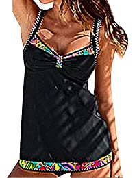 Mujeres Bañadores Traje de Baño de 2 Piezas Beachwear Tankini Tallas Grandes Impresión Chaleco Tops Con