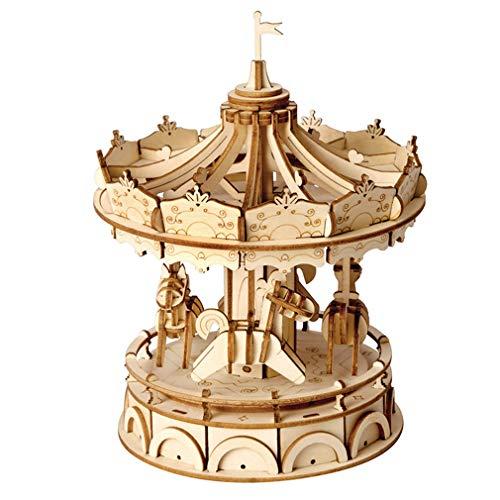 LSQR D011 DIY 3D Holz Handwerk Puzzle Bausteine Mechanische Übertragung Spielzeug, Merry-Go-Round Umweltfreundliche Kinder Geschenk, Mädchen & Jungen Geburtstag und Urlaub Geschenk,Natural