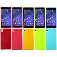 Emartbuy® Sony Xperia Z3 / Xperia Z3 Dual Shiny Glanz Gel Hülle Schutzhülle Case Cover Packung 5 Hot Rosa, Rot, Blau, Gelb, Grün