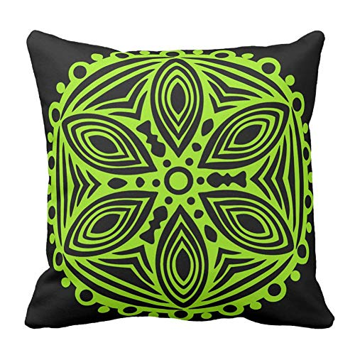 Bags-Online Black and Green Art Design Pattern Printed Cushion Cover Throw Pillow Case Cover Zipper Decorative