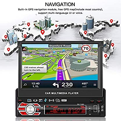 LESHP-1-Din-Autoradio-Bluetooth-MP5-GPS-Navigator-7-Zoll-HD-Touchscreen-FMAM-Stereo-Video-Lenkradsteuerung-Rckfahrkamera-170–NachtsichtBoard-D-Deutscher-und-Englischer-Bedienungsanleitung