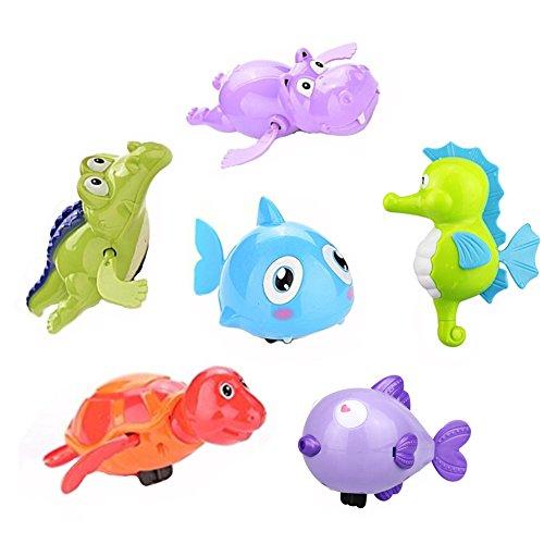Morbuy Baby-Badewanne Wasserspielzeug Badspielzeug süße Schwimmende Tiere Schwimmen zufällige Farbe (Stil 3 (6 Stück)) (Bio-baby-badewanne)
