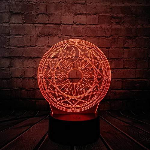 Anime Sakura Magic Circle 3D Lampe Usb Nachtlicht Multicolor Ledlighting Bulb Kid Spielzeug ()