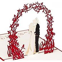 """Hochzeitskarte """"Paar unter Blumenkranz"""" 3D Pop up, handgefertigt, Karte, Liebe, Liebespaar, Brautpaar, Glückwunschkarte Liebe, Valentinstag, Valentinskarte, Karte Verlobung, Hochzeitstag, Hochzeitseinladung"""