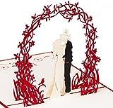 """Biglietto per il matrimonio """"Coppia sotto un arco fiorito"""", 3D e pop-u, realizzato a mano, adatto per la coppia di sposi, per gli auguri di San Valentino oppure come invito alle nozze"""