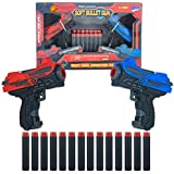 WISHKEY Dual Blaster Soft Rubber Foam Bullets Pull Back 2 Action Gun with 14 Piece Darts for Kids, Handgun for Target Shooting Game