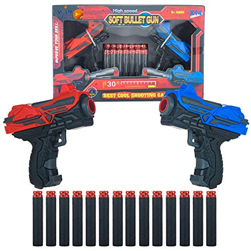 Wish key Dual Blaster Soft Rubber Foam Bullets Pull Back 2 Action Gun with 14 Piece Darts for Kids, Handgun for Target Shooting Game