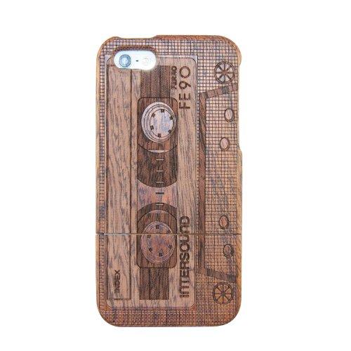 SunSmart (TM) unique fait main naturelle merisier Hard Cover Case en bois pour iPhone 5 5s(source d'inspiration) noyer-cassette
