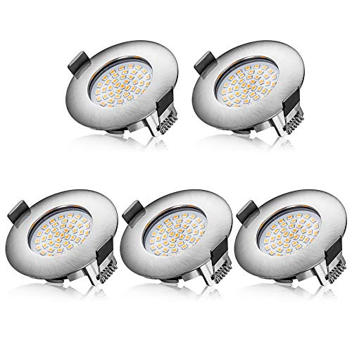 Aogled Spot LED Encastrable 5W 400LM 230V Blanc Chaud 3000K,Rond,Ultra Mince Lumière Spot,Taille du Trou Ouvert 68mm,Non dimmable,Sans Scintillement,Eclairage Led Plafond Interieur IP44,Lot de 5