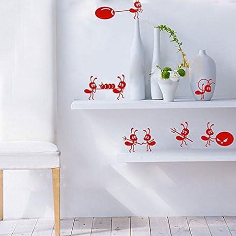 Kolylong Wall Stickers Home Decor Living Room Cartoon DéCoration Mignon Petits Fourmis Stickers Enfants Fashion Room Stickers Muraux (rouge foncé)