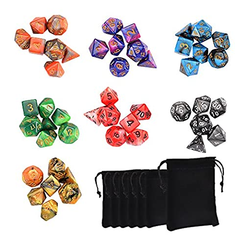 SHiZAK 7x7(49Pieces) Polyhedral Dice Double-Colors Polyhedral Game Dice for RPG Dungeons and Dragons Pathfinder with 7 Pack Black Pouches, 7 Sets of d20, d12, 2 d10 (00-90 and 0-9), d8, d6 and d4