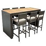 Barset CORTINA 13-teilig, 1x Tisch, 6x Stuhl mit Polster, Geflecht braun Gartenmöbel