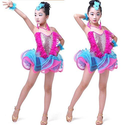 Moyuqi Pailletten Feder Ballsaal Latin Mädchen Tanzen, Kleid -