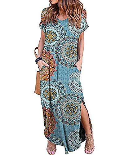 Kidsform Femme Robe Longue d'été Boheme Manches Courtes Grande Taille Chic Maxi Robe de Plage Col Rond Fleurie Casual Rode de Soirée Cocktail Y-Bleu Orange 38 EU (Fabricant: Taille M)