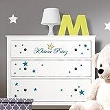 Grandora W5220 Wandtattoo Kleiner Prinz mit Sternen + Krone passend für IKEA HEMNES Kommode brilliantblau