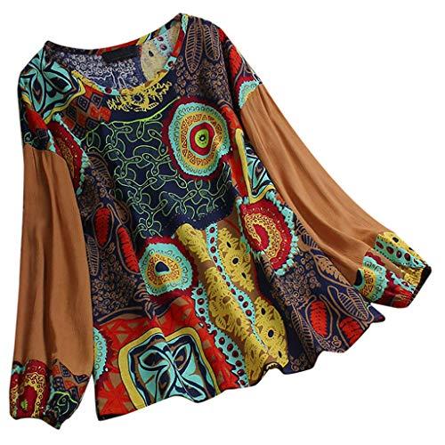 LOPILY Hippie Oberteile Damen Blumen Gedruckte Bluse mit Laternenärmel Farbblock Tunika Große Größen für Freizeit Urlaubsbekleidung...
