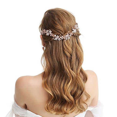 SWEETV Rose Gold Wedding Headband Bridal Vine Flower Halo - Handmade Hair Accessories for Women Girls