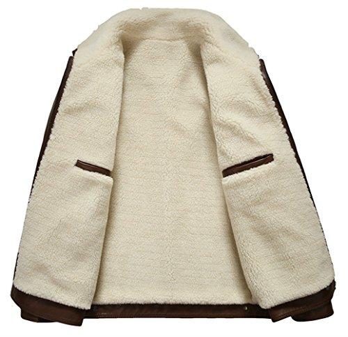 PLAER Pour des hommes veste d'automne et de la mode d'hiver entreprise plus de velours fourrure chaude veste en cuir brun clair