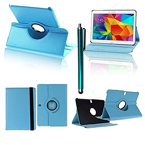 VCOMP® Etui Coque Housse avec support Et Rotation 360° en cuir PU pour Samsung Galaxy Tab Pro 10.1 SM-T520/ Tab Pro 10.1 LTE 4G SM-T525 + stylet - BLEU