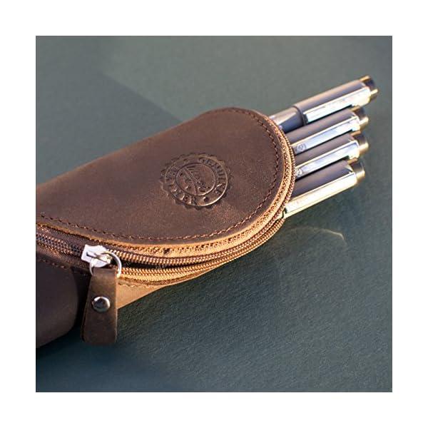 Estuche de cuero auténtico – estilo vintage hecho a mano suave estuche de gafas delgadas, estuche de lápices y…