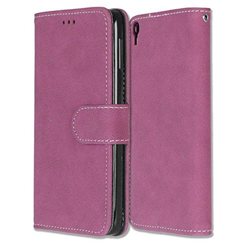 Alcatel One Touch Idol 3 (5.5) Hülle, Chreey Matt Leder Tasche Retro Handyhülle Magnet Flip Case mit Kartenfach Geldbörse Schutzhülle Etui [Rose Rot]