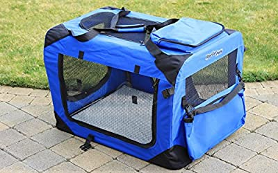 RayGar BLUE DOG PUPPY CAT PET FABRIC PORTABLE FOLDABLE STRONG SOFT CRATE CARRIER PET KENNEL CAGE *BRAND NEW*