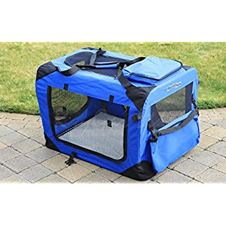 raygar blue dog puppy cat pet fabric portable foldable strong soft crate carrier pet kennel cage large 70 x 52 x 52cm - new (large) RayGar Pet Carrier Soft Crate Portable Foldable Fabric – Blue – Large 517A9dy7kGL
