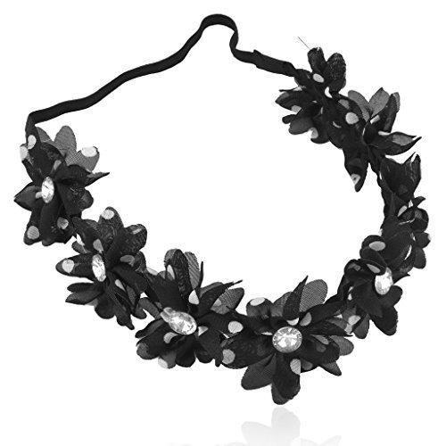 Weiß Chiffon Polka Dot Kristall Blumen Stretch Stirnband Head Band ()