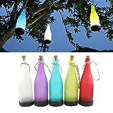 NORDSD 5er-Set LED Solar Powered Flasche Licht zum Aufhängen Terrasse Lampe Flamme Effekt Garten Yard Hängelampe